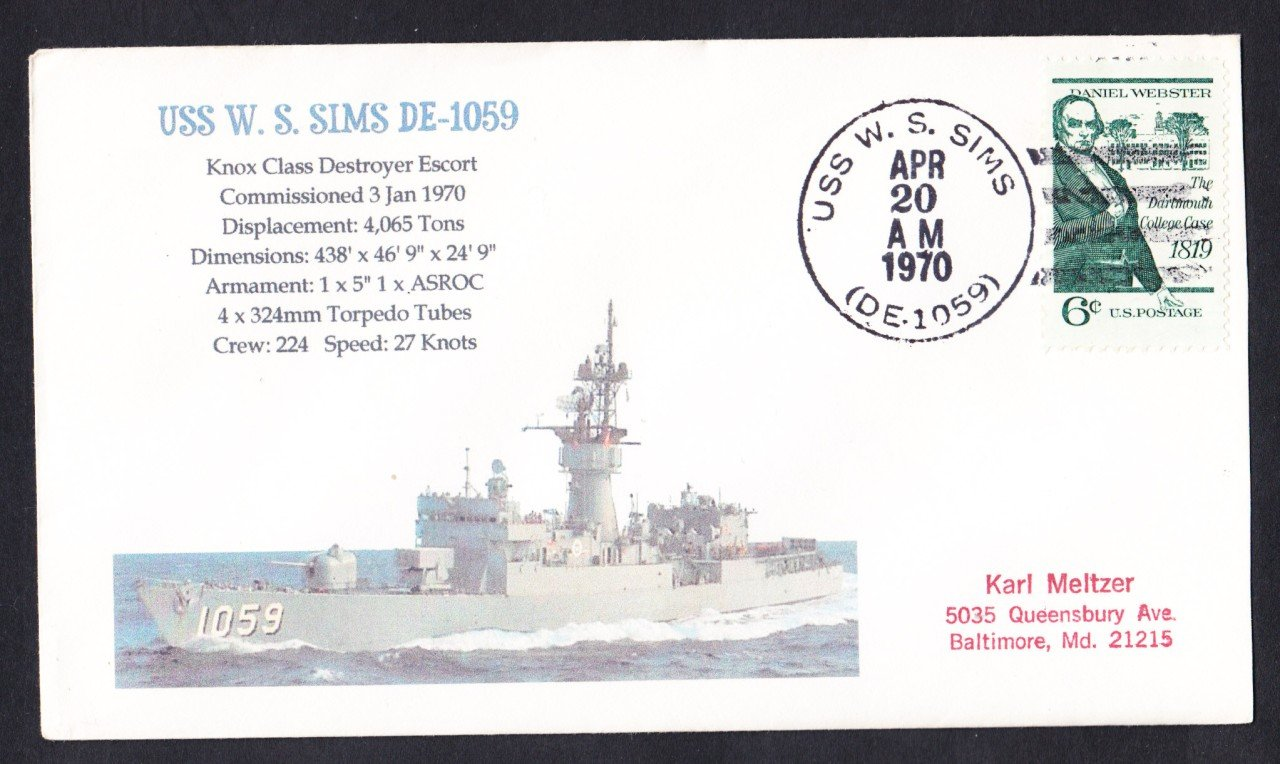 USS SIMS DE-1059 Naval Cover Mhcachets Only 1 Made