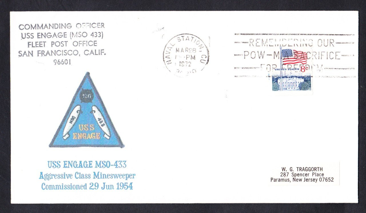 USS ENGAGE MSO-433 Naval Cover MhCachets Only 1 Made