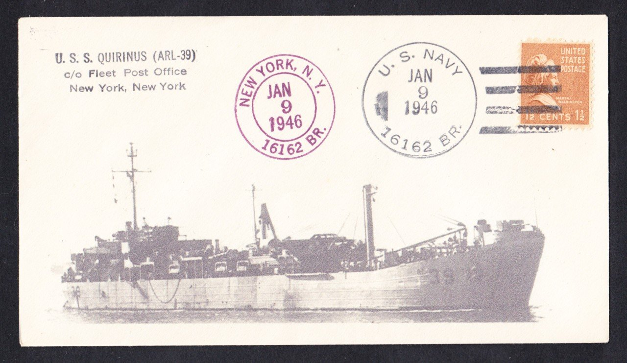 USS QUIRINUS ARL-39 1946 BR# Cancel Naval Cover Only 1 Made