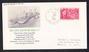 USS NEW HANOVER AKA-73 1946 BR# Cancel Naval Cover Only 1 Made