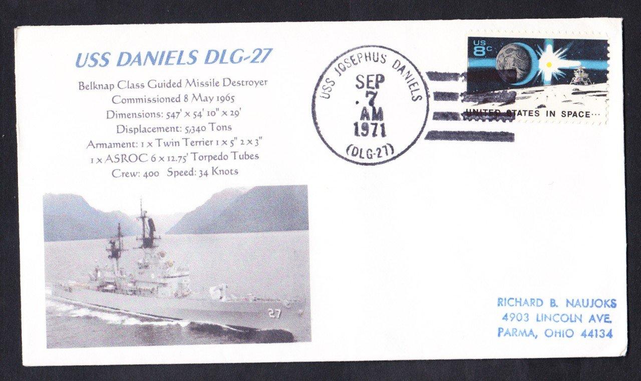 USS JOSEPHUS DANIELS DLG-27 Naval Cover MhCachets Only 1 Made