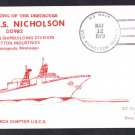 USS NICHOLSON DD-982 Commissioning Naval Cover