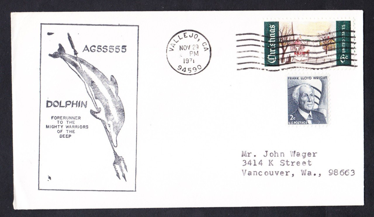 USS DOLPHIN AGSS-555 Vallejo California Naval Submarine Cover