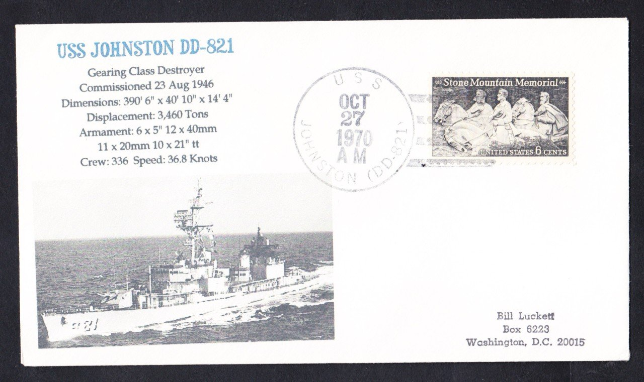 USS JOHNSTON DD-821 Naval Cover MhCachets Only 1 Made