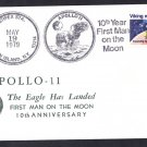 APOLLO 11 Moon Landing 10th Anniversary Space Cover