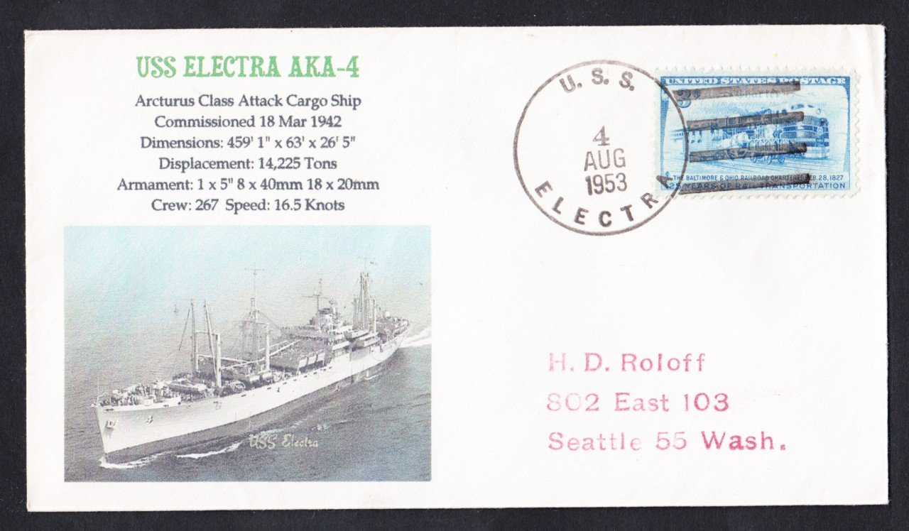 USS ELECTRA AKA-4 1953 Naval Cover MhCachets Only 1 Made