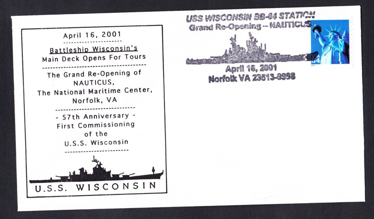 USS WISCONSIN BB-64 57th Anniversary Naval Cover