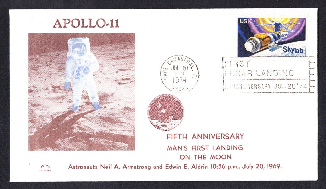 APOLLO 11 First Man on the Moon 5th Anniversary 1974 Space Cover