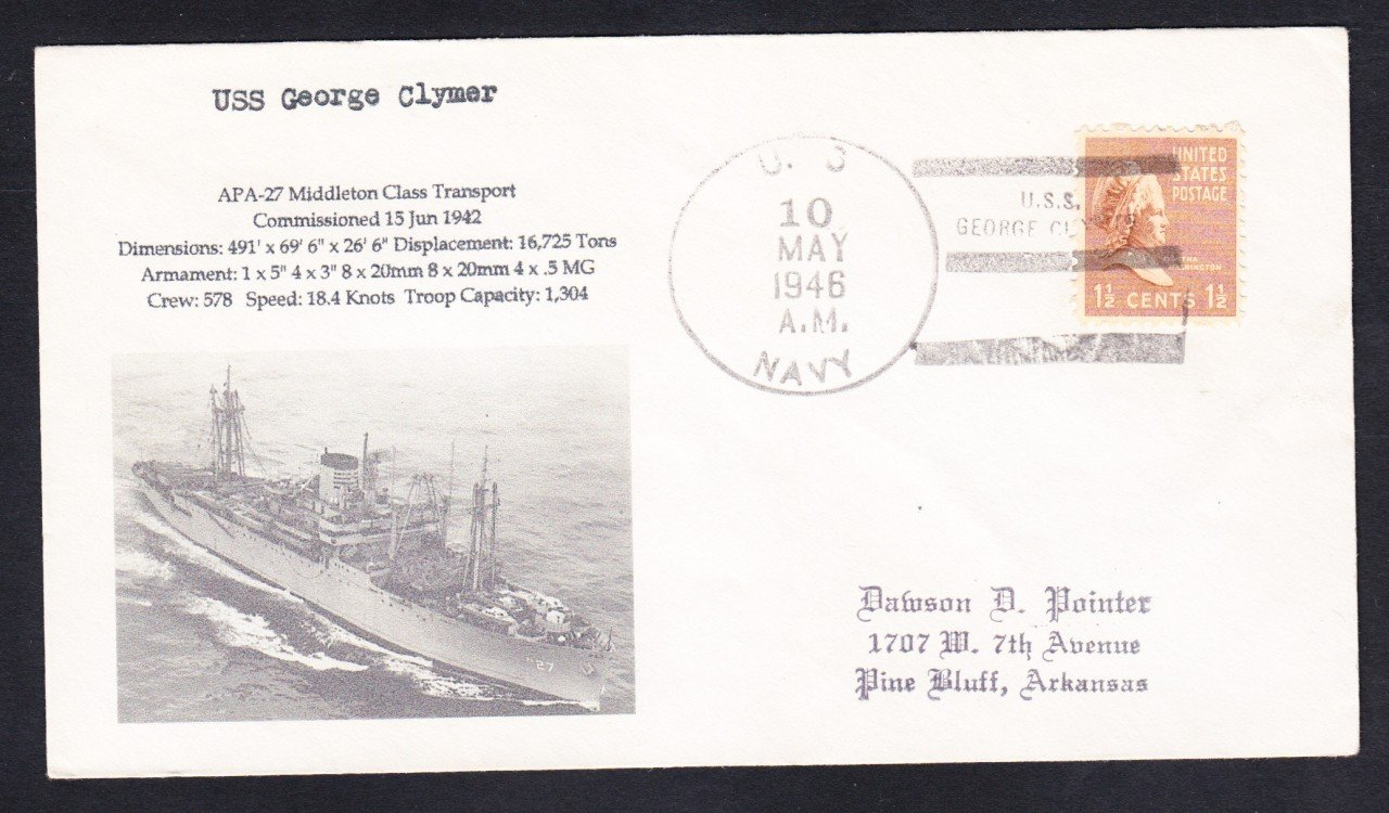USS GEORGE CLYMER APA-27 1946 Naval Cover MhCachets Only 1 Made