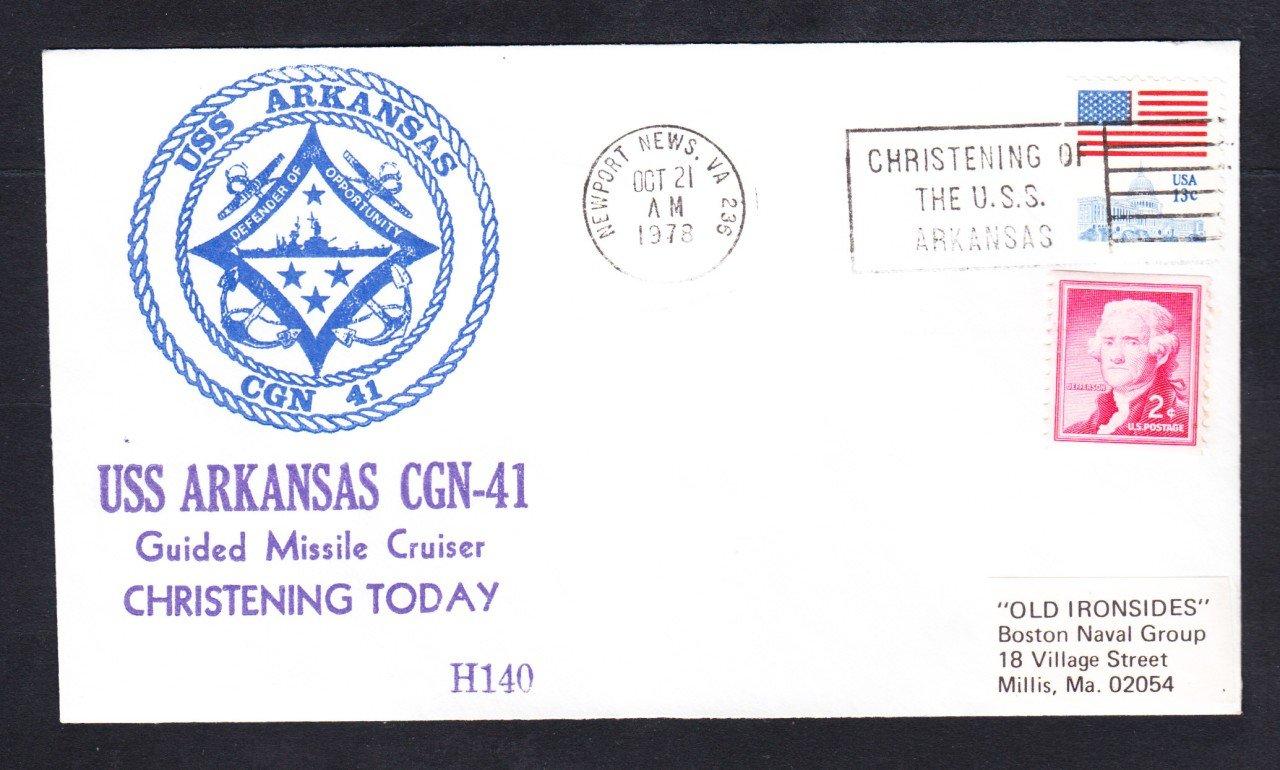 USS ARKANSAS CGN-41 CHRISTENING Hoffner Cachet #H140 Naval Cover
