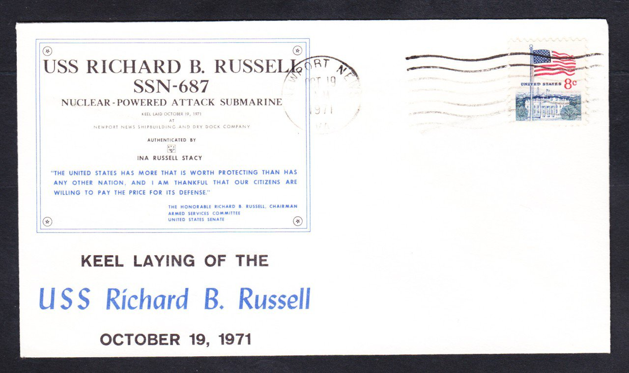 USS RICHARD B. RUSSELL SSN-687 KEEL LAYING Naval Submarine Cover