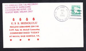 USS HONOLULU SSN-718 COMMISSIONING Naval Submarine Cover