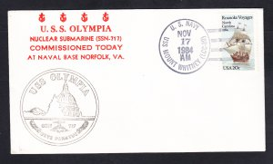 USS OLYMPIA SSN-717 COMMISSIONING Naval Submarine Cover
