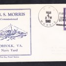 WWII Destroyer USS MORRIS DD-417 COMMISSIONING 1940 Naval Cover