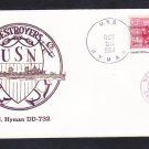 Destroyer USS HYMAN DD-732 Thermographed Destroyer Cachet Naval Cover
