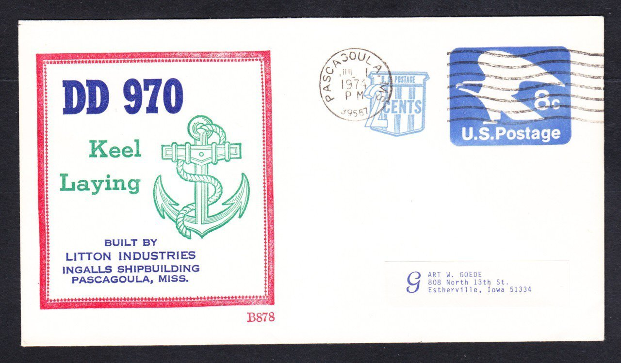 Destroyer USS CARON DD-970 KEEL LAYING BECK Naval Cover