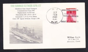 USS GEORGE CLYMER APA-27 Fancy Cancel Naval Cover MhCachets ONLY 1 MADE