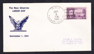 Survey Ship USS TANNER AGS-15 LABOR DAY 1947 Naval Cover