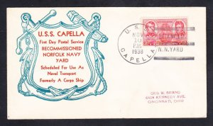 Cargo Ship USS CAPELLA AK-13 RECOMMISSIONING 1938 Naval Cover