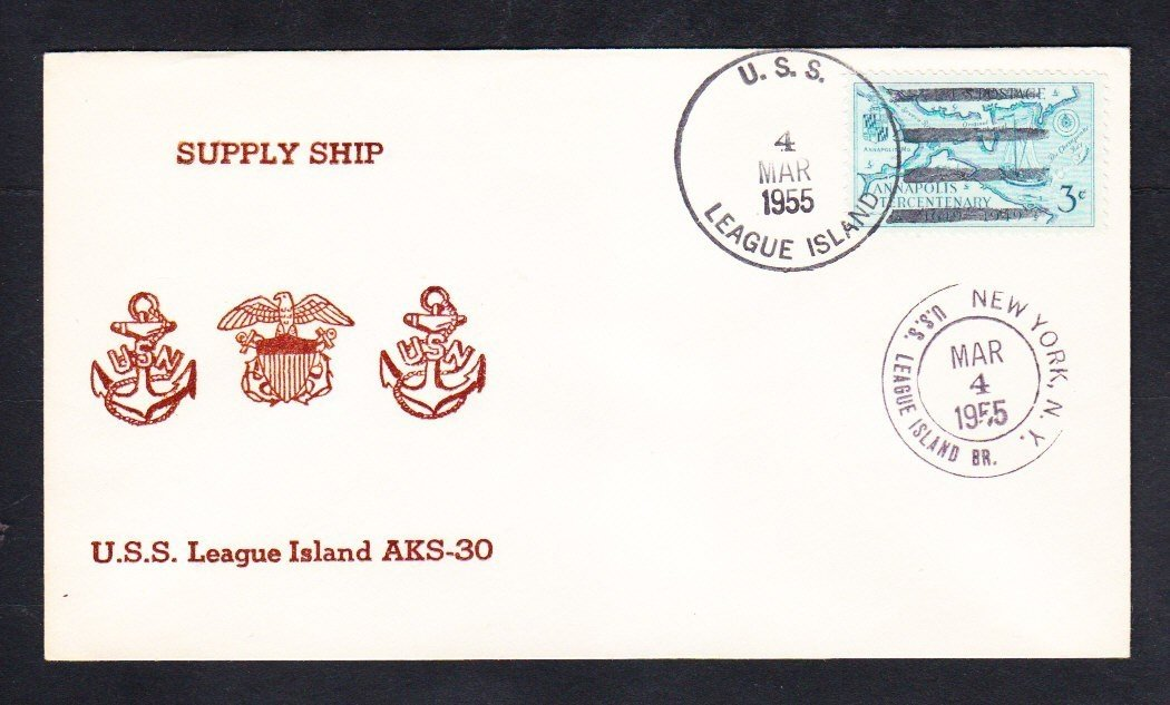 Supply Ship USS LEAGUE ISLAND AKS-30 1955 Naval Cover
