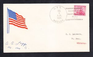 Repair Ship USS MEDUSA AR-1 Independence Day Newport 1934 Patriotic Naval Cover