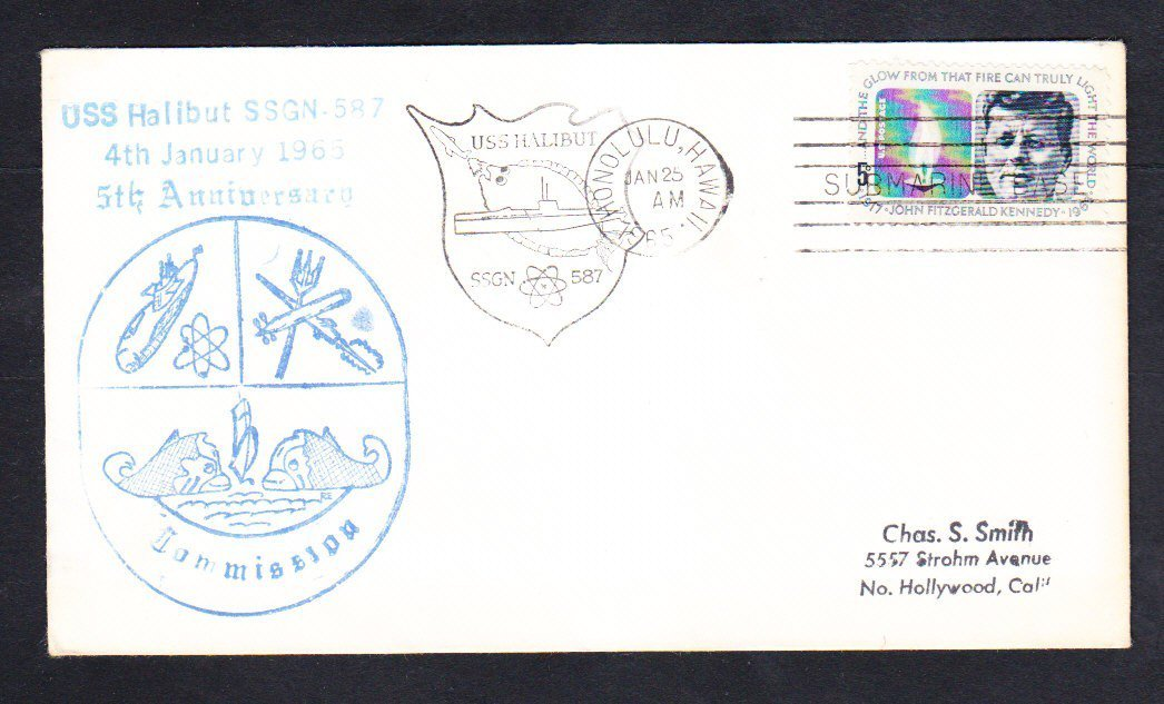 Submarine USS HALIBUT SSGN-587 FIFTH ANNIVERSARY Naval Cover