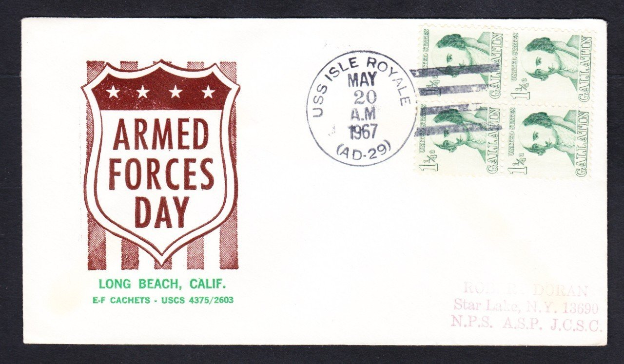Destroyer Tender USS ISLE ROYALE AD-29 ARMED FORCES DAY Naval Cover