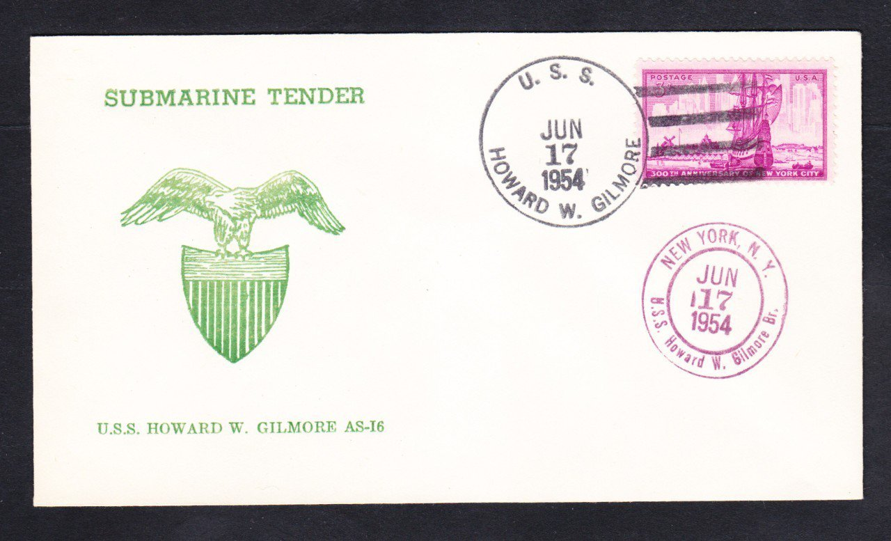 Submarine Tender USS HOWARD W. GILMORE AS-16 Thermographed Cachet Naval Cover