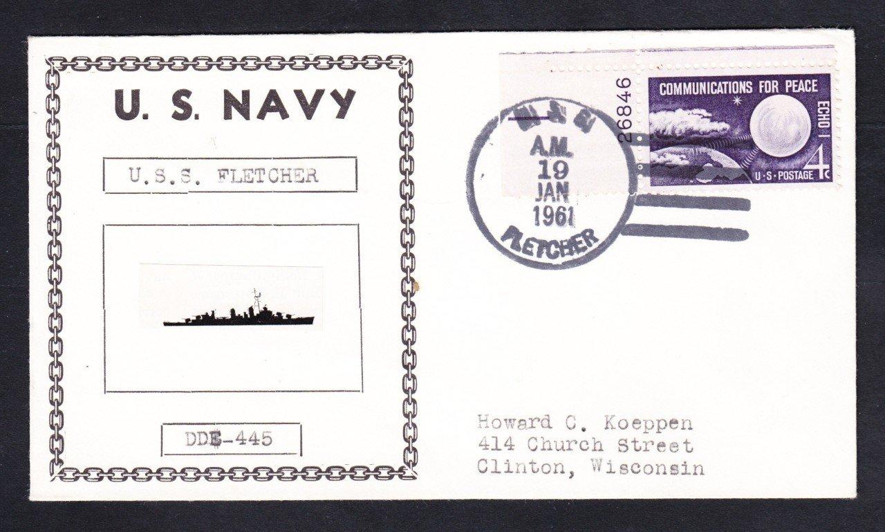 Destroyer USS FLETCHER DDE-445 Photo Cachet Naval Cover