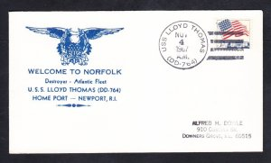 Destroyer USS LLOYD THOMAS DD-764 Welcome To Norfolk VA Naval Cover