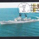 Guided Missile Destroyer USS BIDDLE DLG-34 Ship Postcard & Postmark Naval Cover