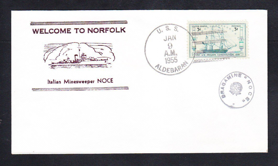 Italian Navy Ship Minesweeper NOCE Norfolk VA 1955 Naval Cover