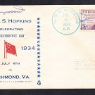Destroyer USS HOPKINS DD-249 Independence Day 1934 Naval Cover