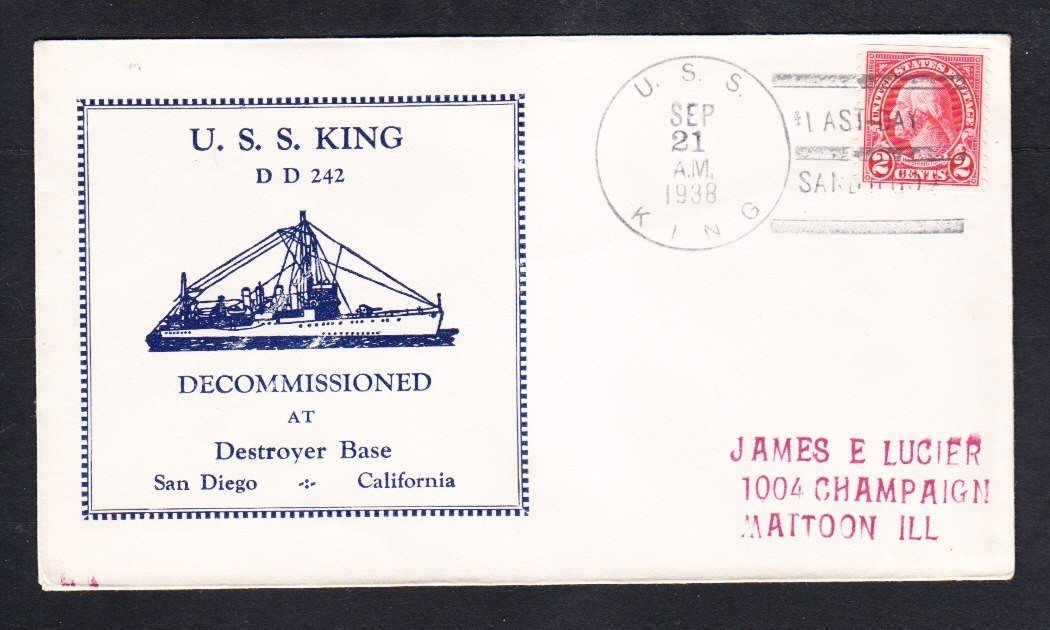 Destroyer USS KING DD-242 DECOMMISSIONING 1938 Naval Cover