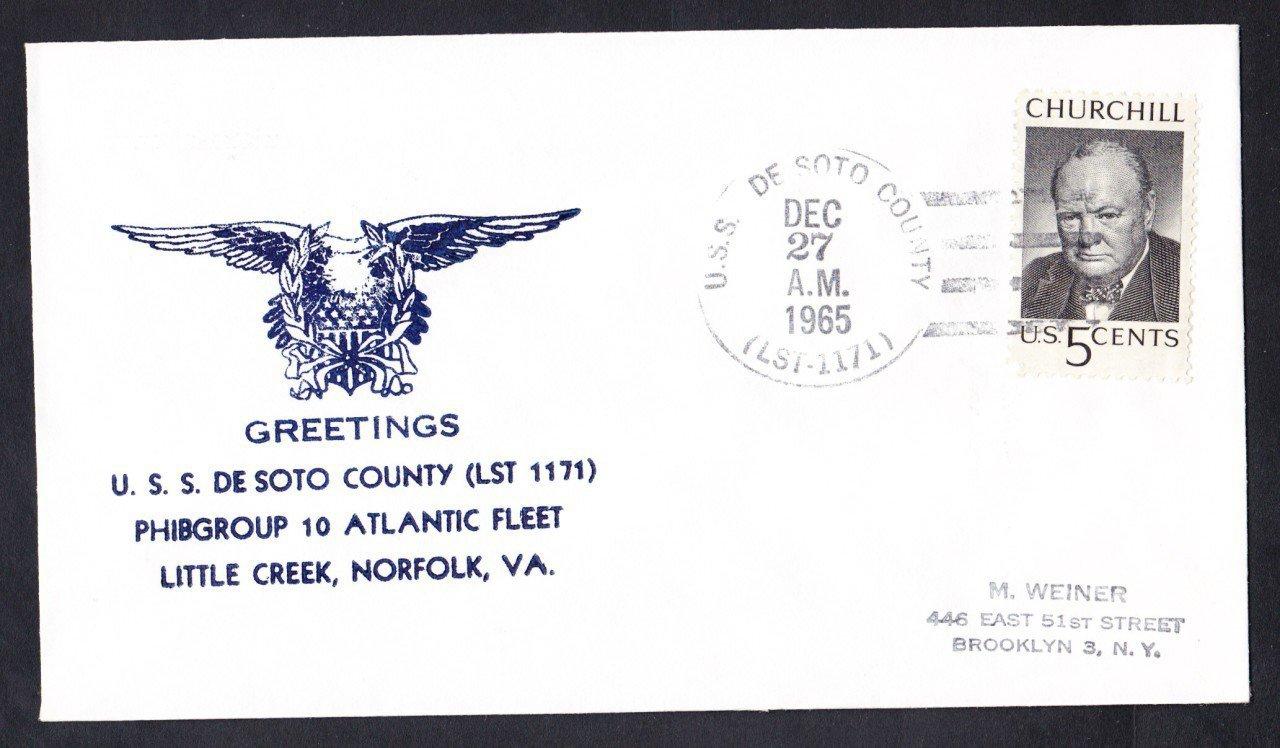 Tank Landing Ship USS DESOTO COUNTY LST-1171 Greetings Norfolk VA Naval Cover