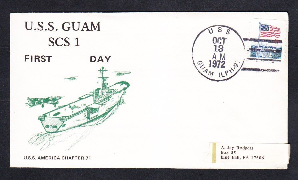 Amphibious Helicopter Assault Ship USS GUAM LPH-9 COMMISSIONING Naval Cover