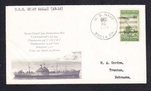 Ammunition Ship USS MOUNT KATMAI AE-16 BR# Cancel Naval Cover MhCachets 1 MADE