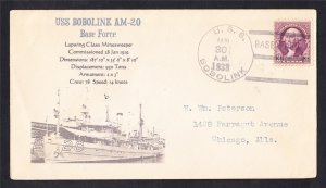 Minesweeper USS BOBOLINK AM-20 Base Force 1933 Naval Cover MhCachets 1 MADE