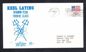 Submarine USS OHIO SSBN-726 KEEL LAYING NSC Cachet Naval Cover