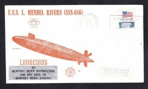 Submarine USS L. MENDEL RIVERS SSN-686 LAUNCHING NSC Cachet Naval Cover