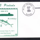 Submarine USS PINTADO SSN-672 COMMISSIONING Anniversary Naval Cover