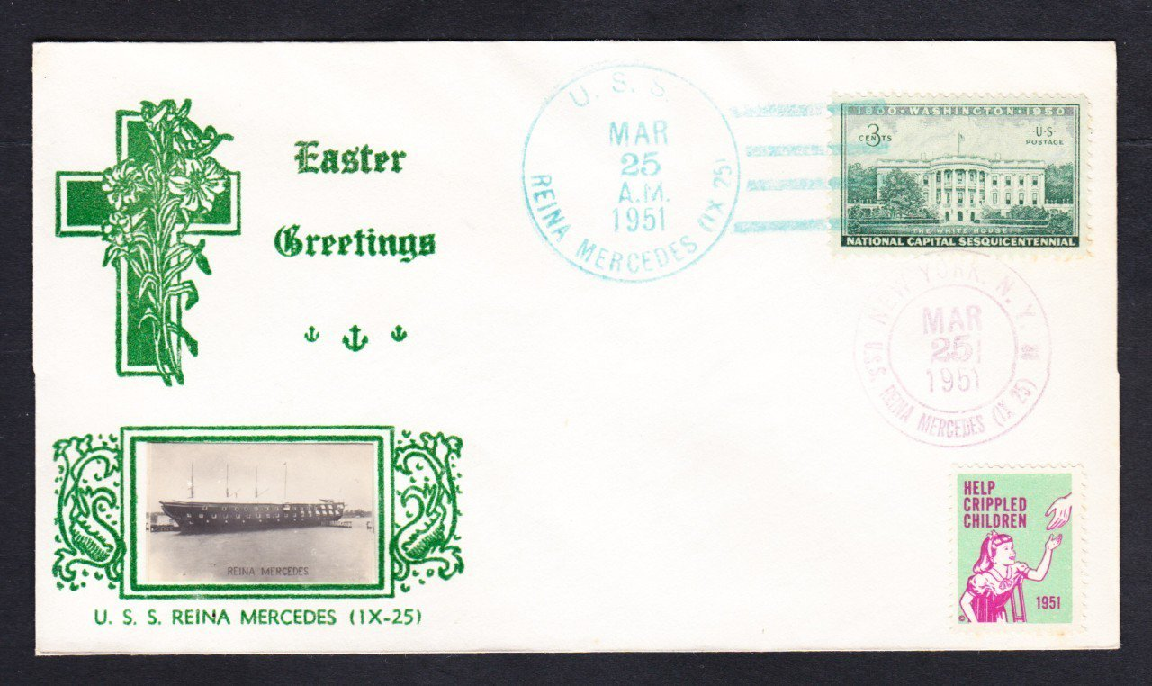 USS REINA MERCEDES IX-25 GMAEHLE Photo Cachet EASTER 1951 Naval Cover