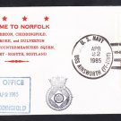 British Royal Navy Ship HMS CHIDDINGFOLD Welcome To Norfolk Naval Cover