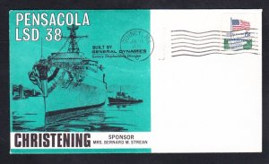 Amphibious Dock Landing Ship USS PENSACOLA LSD-38 LAUNCHING Naval Cover