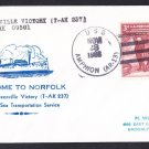 Cargo Ship USNS GREENVILLE VICTORY T-AK-237 Welcome To Norfolk Naval Cover