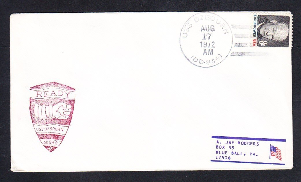 Destroyer USS OZBOURN DD-846 Naval Cover