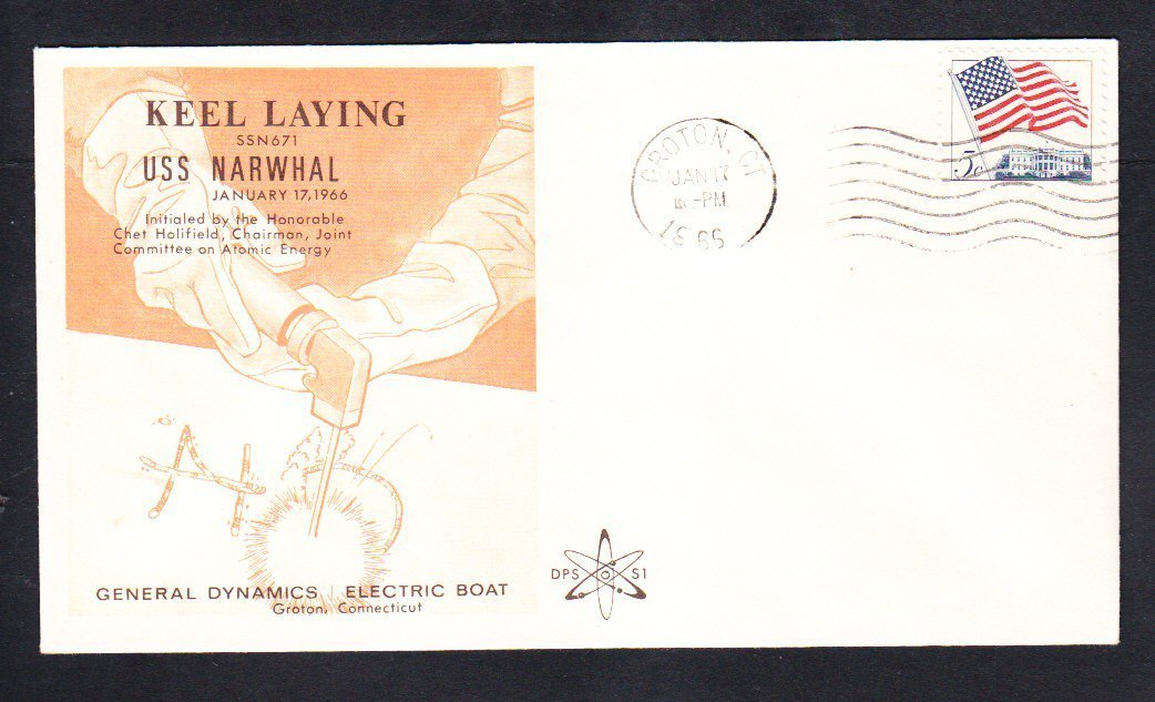 Submarine USS NARWHAL SSN-671 KEEL LAYING DPS Cachet Naval Cover