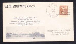 USS AMPHITRITE ARL-29 BR# Cancel Naval Cover MhCachets 1 MADE