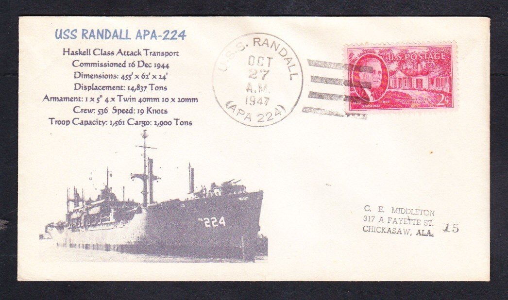 Attack Transport USS RANDALL APA-224 Naval Cover ONLY 1 MADE