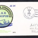 Submarine Tender USS CANOPUS AS-34 COMMISSIONING BECK Naval Cover